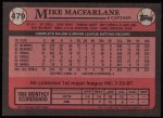 1989 Topps #479  Mike Macfarlane  Back Thumbnail