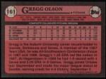 1989 Topps #161  Gregg Olson  Back Thumbnail