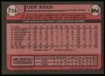 1989 Topps #734  Jody Reed  Back Thumbnail