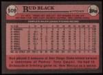 1989 Topps #509  Bud Black  Back Thumbnail
