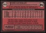 1989 Topps #462  Jose Guzman  Back Thumbnail