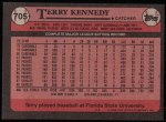 1989 Topps #705  Terry Kennedy  Back Thumbnail