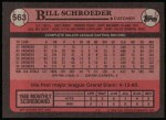 1989 Topps #563  Bill Schroeder  Back Thumbnail