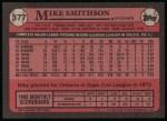1989 Topps #377  Mike Smithson  Back Thumbnail