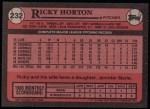 1989 Topps #232  Ricky Horton  Back Thumbnail