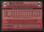 1989 Topps #329  Bob Melvin  Back Thumbnail