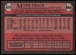 1989 Topps #465  Mark Grace  Back Thumbnail