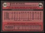 1989 Topps #92  Jeff Kunkel  Back Thumbnail