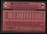 1989 Topps #16  Ron Robinson  Back Thumbnail