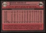 1989 Topps #513  Jesse Orosco  Back Thumbnail