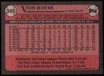 1989 Topps #385  Von Hayes  Back Thumbnail