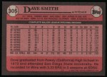 1989 Topps #305  Dave Smith  Back Thumbnail