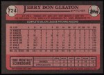 1989 Topps #724  Jerry Don Gleaton  Back Thumbnail