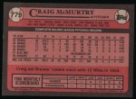 1989 Topps #779  Craig McMurtry  Back Thumbnail