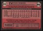 1989 Topps #602  Devon White  Back Thumbnail