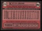 1989 Topps #215  Kevin Gross  Back Thumbnail
