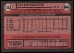 1989 Topps #153  Jim Pankovits  Back Thumbnail