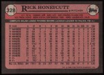 1989 Topps #328  Rick Honeycutt  Back Thumbnail