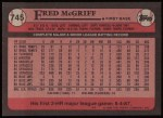 1989 Topps #745  Fred McGriff  Back Thumbnail