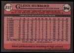 1989 Topps #237  Glenn Hubbard  Back Thumbnail
