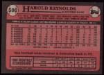 1989 Topps #580  Harold Reynolds  Back Thumbnail