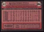 1989 Topps #57  Alejandro Pena  Back Thumbnail