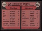 1989 Topps #429   Twins Leaders Back Thumbnail