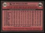 1989 Topps #34  Ken Williams  Back Thumbnail