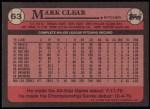 1989 Topps #63  Mark Clear  Back Thumbnail