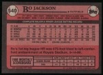 1989 Topps #540  Bo Jackson  Back Thumbnail