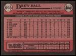 1989 Topps #593  Drew Hall  Back Thumbnail