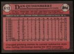 1989 Topps #612  Dan Quisenberry  Back Thumbnail