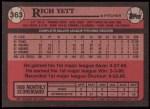 1989 Topps #363  Rich Yett  Back Thumbnail