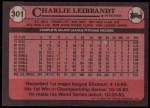 1989 Topps #301  Charlie Leibrandt  Back Thumbnail