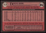 1989 Topps #13  Doug Sisk  Back Thumbnail