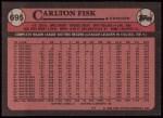 1989 Topps #695  Carlton Fisk  Back Thumbnail