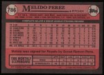 1989 Topps #786  Melido Perez  Back Thumbnail