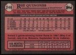1989 Topps #246  Rey Quinones  Back Thumbnail