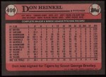 1989 Topps #499  Don Heinkel  Back Thumbnail