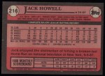 1989 Topps #216  Jack Howell  Back Thumbnail