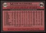 1989 Topps #547  Mark McLemore  Back Thumbnail