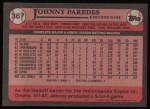 1989 Topps #367  Johnny Paredes  Back Thumbnail