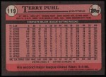 1989 Topps #119  Terry Puhl  Back Thumbnail