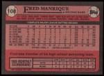 1989 Topps #108  Fred Manrique  Back Thumbnail