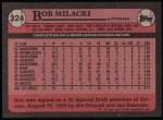 1989 Topps #324  Bob Milacki  Back Thumbnail