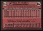 1989 Topps #355  Mark Langston  Back Thumbnail