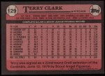 1989 Topps #129  Terry Clark  Back Thumbnail