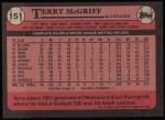 1989 Topps #151  Terry McGriff  Back Thumbnail