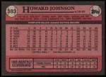 1989 Topps #383  Howard Johnson  Back Thumbnail