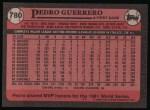 1989 Topps #780  Pedro Guerrero  Back Thumbnail